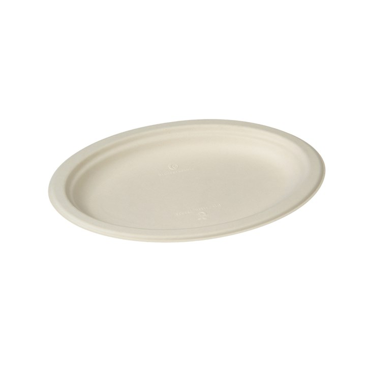 Naturesse Sugarcane Compostable Disposable Oval Plate 260 X 190 X 20Mm