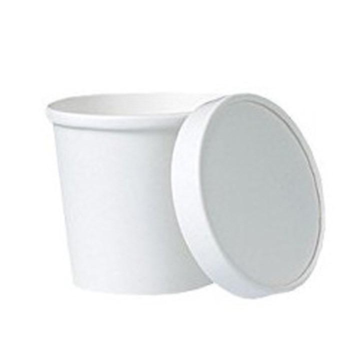 12Oz White Soup Food Cup & Lid Combo