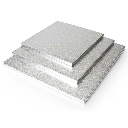 SILVER SQUARE CAKE BOARDS
