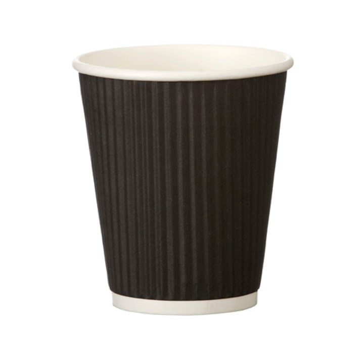 Black Ripple Wall Heatwave Disposable Paper Coffee Cup
