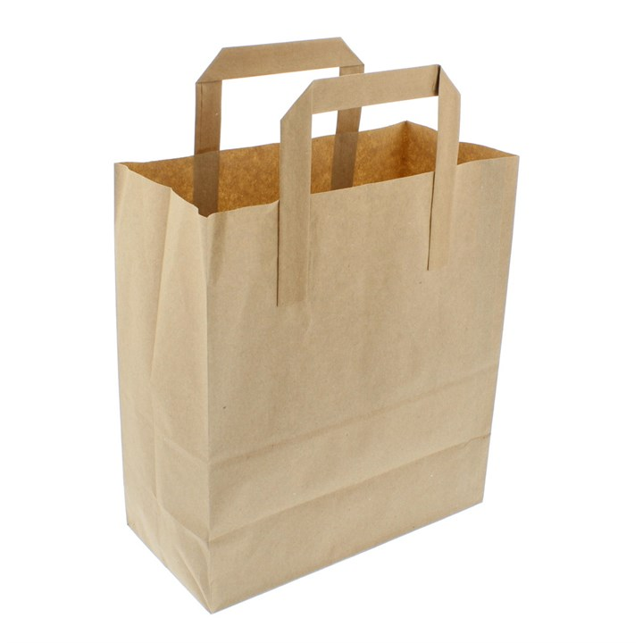 Brown Paper Sos Carrier Bags 10 + 5.5 X 12 Inch Outer Handles