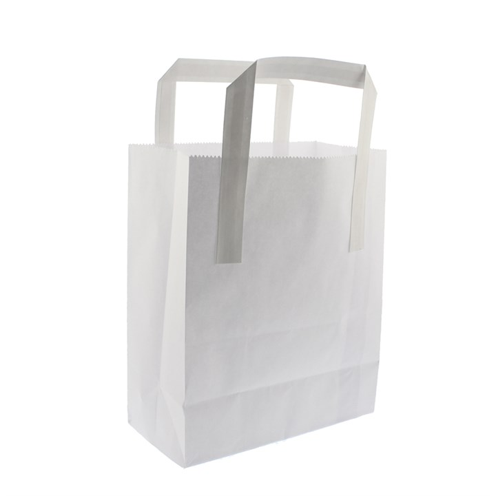 WHITE PAPER SOS CARRIER BAGS 10 + 5 X 12 INCH OUTER HANDLES