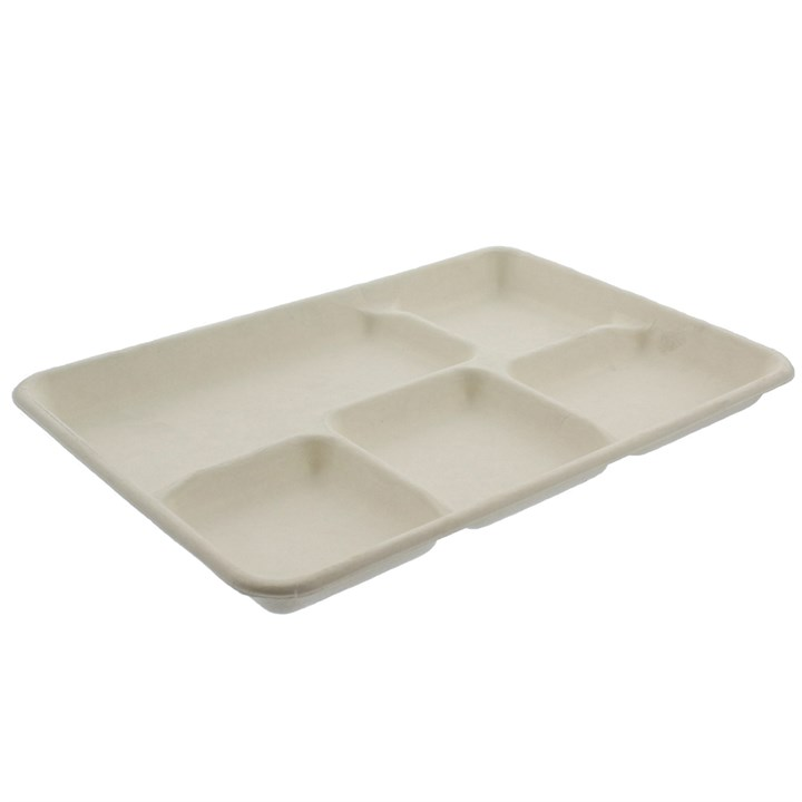 10 X 8 INCH COMPOSTABLE SUGARCANE 5 COMPARTMENT PLATE