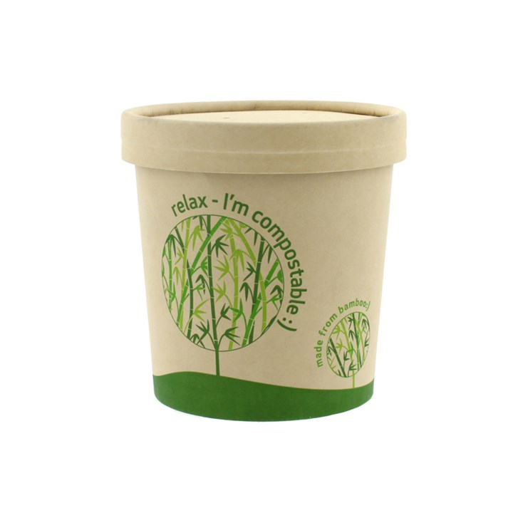 LEAF 12OZ BAMBOO COMPOSTABLE SOUP FOOD CUP & LID COMBO