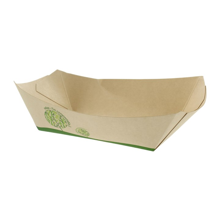 LEAFWARE 2.5LB COMPOSTABLE BAMBOO PAPER FOOD TRAYS