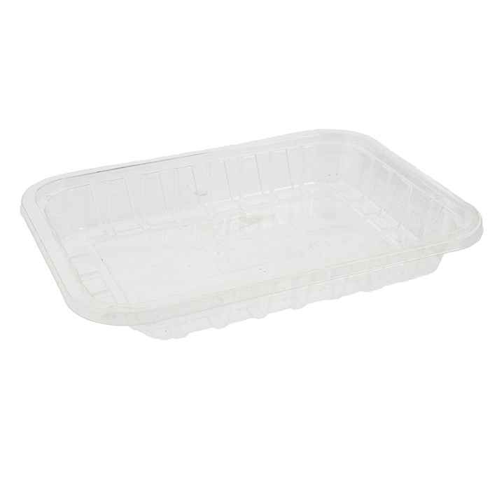 CLEAR COMPOSTABLE PLA TRAYS 160 X116 X 22MM