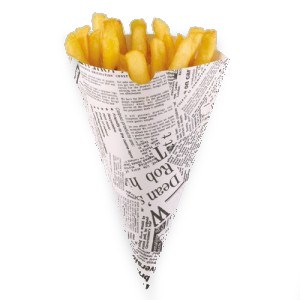 DISPOSABLE NEWSPAPER PRINT CHIP CONE 182 X 182MM