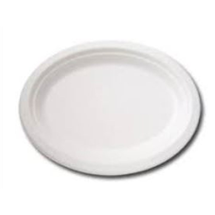 10 INCH OVAL COMPOSTABLE BAGASSE PLATE