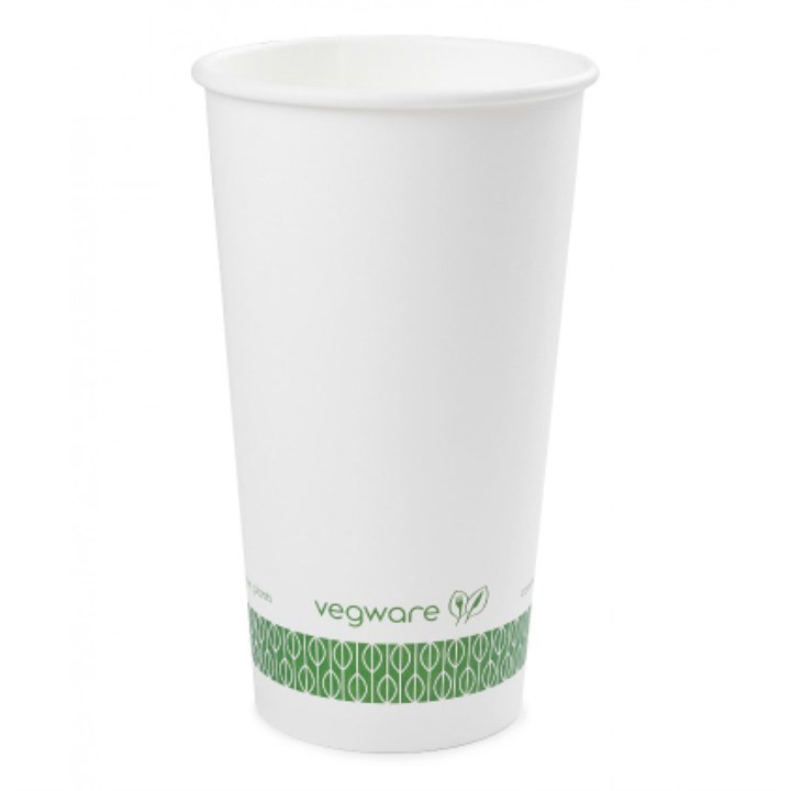 20Oz Vegware Compostable Single Wall Cup White