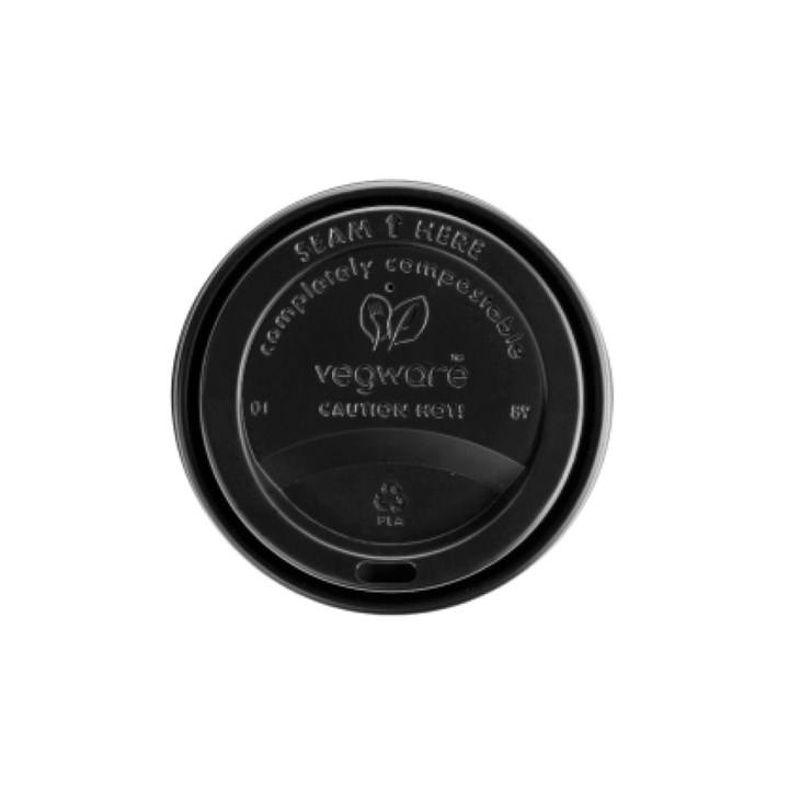 8Oz Black Compostable Sip Thru Lid