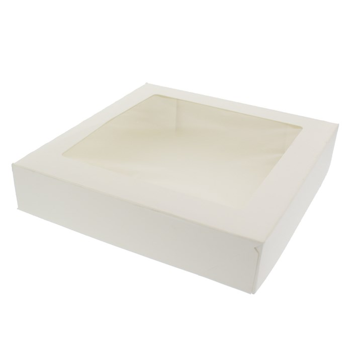 White Tart Box With Window Hinged 9 X 9 X 2 Inch