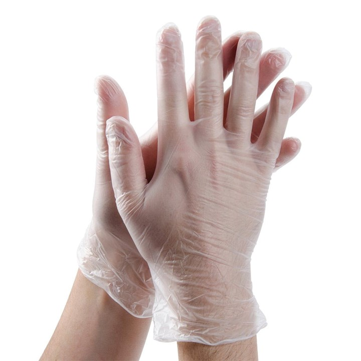 Olympia Clear Powder Free Vinyl Disposable Gloves Large