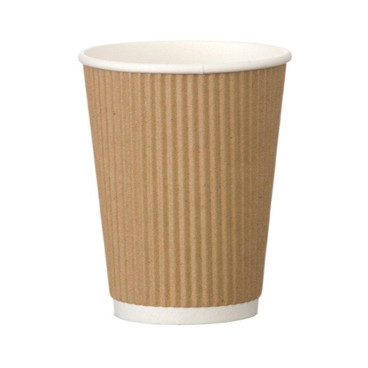 12Oz Kraft Ripple Wall Heatwave Disposable Paper Coffee Cup