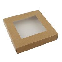 KRAFT BROWN TART BOX WITH WINDOW HINGED 9.5 X 2 INCH
