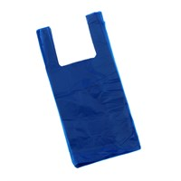 Blue Plastic Carrier Bag 300 + 150 X 580Mm 16Mu