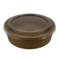 900Ml Brown Kraft Compostable  Salad Bowl & Lid Combo