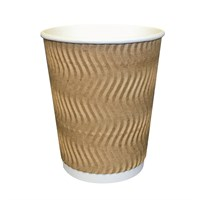 16Oz S-Kraft Ripple Wall Heatwave Disposable Paper Coffee Cup